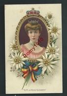 S.M. La Reine Elisabeth.  Portrait Dans Médaillon Doré.  Litho Gaufrée En Parfait état. 2 Scans. - Familles Royales