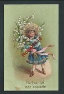 """Petite Fille Avec Grand Bouquet De Muguets. """"Portez Lui Mon Souvenir"""" Belle Carte Gaufrée.  2 Scans. - Scènes & Paysages"""