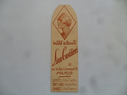 """(Marque-pages Publicitaire - Parfum, Coiffure +++ - 1928 ) - Institut De Beauté """"LINA CAVALIERI, Paris"""".......voir Scans - Marque-Pages"""