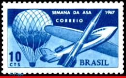 Ref. BR-1062 BRAZIL 1967 PLANES, AVIATION, WEEK OF THE WING, PLANE,, BALLOON AND ROCKET, MNH 1V Sc# 1062 - Amérique Du Sud