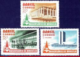 Ref. BR-1157-59 BRAZIL 1970 CITIES, BRASILIA, 10TH ANNIV.,, ARCHITECTURE, MI# 1251-53, SET MNH 3V Sc# 1157-1159 - Brasilien