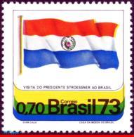 Ref. BR-1280 BRAZIL 1973 FLAGS, VISIT OF PRES. ALFREDO, STROESSNER OF PARAGUAY, MI# 1362, MNH 1V Sc# 1280 - Brésil