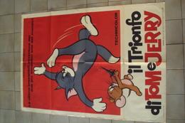 VECCHIA LOCANDINA CINEMA FILM POSTER ORIGINALE TOM E JERRY IL TRIONFO CARTONI ANIMATI MISURA CM. 140 X 100 - Manifesti & Poster