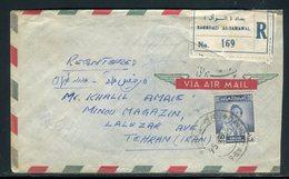 Iraq - Enveloppe En Recommandé De Baghdad Pour Téhéran En 1956 ,affranchissement Recto Et Verso - Prix Fixe - Réf JJ 197 - Iraq