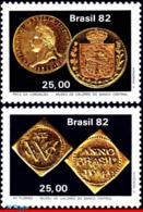 Ref. BR-1816-17 BRAZIL 1982 MONEY ON STAMPS, CENTRAL BANK, COINS,, NUMISMATICS, MI# 1917-18, SET MNH 2V Sc# 1816-1817 - Brasilien