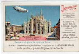 MILANO - DIRIGIBILE - IODOFERRATOSE - VIAGGIATA - Zeppeline