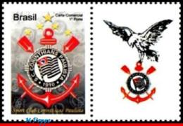 Ref. BR-3145-3 BRAZIL 2010 FOOTBALL-SOCCER, CORINTHIANS,FAMOUS CLUBS,, 'GAVI�ES', PERSONALIZED MNH 1V Sc# 3145 - Brazil