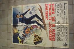 VECCHIA LOCANDINA CINEMA FILM POSTER ORIGINALE JAMES BOND 007 AL SERVIZIO DI SUA MAESTÀ MISURA CM.140 X 100 - Posters