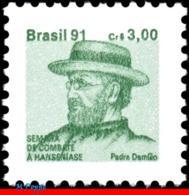 Ref. BR-RA27 BRAZIL 1991 HEALTH, HANSEN DISEASE, LEPROSY,, HANSENIASIS,FR.JOSEPH DAMIEN,MI# Z28,MNH 1V Sc# RA27 - Brasile