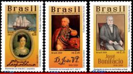 Ref. BR-V2019-09-3 BRAZIL 2019 FAMOUS PEOPLE, 200 YEARS INDEPENDENCE,, LEOPOLDINA, JOHN VI, 2017 2018, MNH, 3V - Bateaux