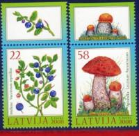 Ref. LA-V2008-03 LATVIA 2008 FLOWERS, PLANTS, FLORA & FOREST, BLACKBERRIES AND MUSHROOM, MNH 2V - Fruits