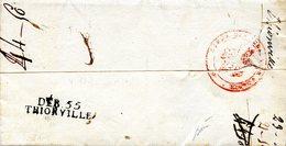 """Déboursé De Thionville """"DEB.55 / THIONVILLE Sur Lettre De Paris à Sierck, Datée Du 30/10/1815 - Marcofilie (Brieven)"""