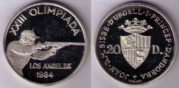 ANDORRA 1984 - MONEDA DE PLATA PROOF DE 20 DINERS - OLIMPIADA DE LOS ANGELES '84 - KM# 25 - Andorre