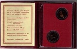 ANDORRA 1985 - CARTERA DE 2 MONEDAS BICOLOR DE 2 DINERS  CADA UNA - KM #  27 - 28 - Andorre
