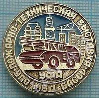 USSR / Badge / Soviet Union / RUSSIA Fire-technical Exhibition. Fireman Fire Car Transport Bashkiria. Ufa 1980s - Firemen