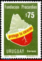 Ref. UR-886 URUGUAY 1974 HEALTH, HEART FOUNDATION, PUBLICITY, MI# 1309 1V Sc# 886 - Medizin