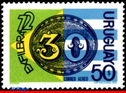 Ref. UR-C391 URUGUAY 1972 PHILATELIC EXHIBITION, EXFILBRA - BRAZIL�S, �BULL�S-EYE� OF 1843, FLAGS, MNH 1V Sc# C391 - Briefmarkenausstellungen