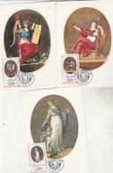 France Carte Maximum Yvert 2573 + 2574 + 2575 Liberté Egalité Fraternité Révolution Droits Homme PARIS 14/7/1989 - 1980-89