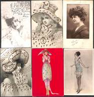 Femme Woman Vrouw - Lot 6 Cartes (animation, Illustrateur Actrice Coquine...) - Femmes