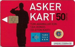 Turkey - TT (chip) - Soldier Cards - C-216 - Asker Kart Kasim 2010 (Red), 2008, 1.000ex, Used - Turkey