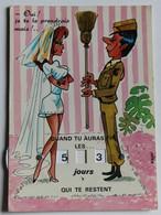 Carte à Système Soldat Calendrier Quille Illustrateur Manu Humour Pin Up Mariée Militaire - Humour