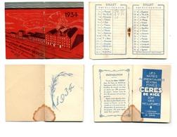 Calendrier 1934 - Pâtes CERES MEUNIER (Nice) - Klein Formaat: 1921-40