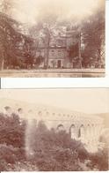 2 PHOTOS VERS 1905  PONT DU GARD  ET CHATEAU DE ST PRIVAT - Orte