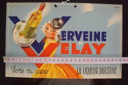 LIQUORE FRANCESE FRANCIA  PUBBLICITà VERVEINE VELAY LIQUEUR DIGESTIVE SU CARTONCINO PUBBLICITARIO - Articoli Pubblicitari