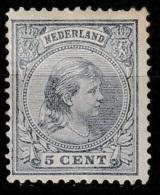 1891-1894 Wilhelmina Hangend Haar 5 Ct.  NVPH 35  Ongestempeld - Period 1891-1948 (Wilhelmina)
