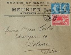 """DF40266/284 - ✉️ Avec PUBLICITE """" MEUNIER FRERES à TOURNUS (Saône Et Loire) BEURRE OEUFS EN GROS - VOLAILLES DE BRESSE - Publicidad"""