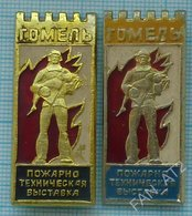 USSR / Badges / Soviet Union / Belorussia. Belarus Fire-technical Exhibition. Fireman Gomel 1970s - Firemen