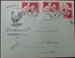 """DF40266/288 - ✉️ Avec PUBLICITE """" DESCHAUX Et Cie - VOLAILLES DE BRESSE """" - N°212 (x3) - CàD De TOURNUS 18 MARS 1925 - Advertising"""