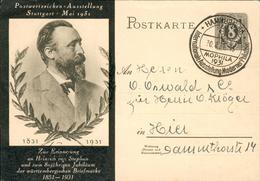 Dt.Reich Rare PS Card UPU Heinrich Von Stephan 1931 Hz69 - Deutschland