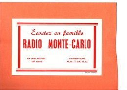 "BUVARD. RADIO   "" MONTE CARLO ""  Achat Immédiat - Carte Assorbenti"