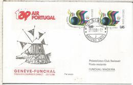 NACIONES UNIDAS ONU PRIMER VUELO TAP AIR PORTUGAL GENEVE FUNCHAL 1986 - Aéreo
