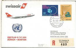 NACIONES UNIDAS GENEVE CC CERTIFICADA PRIMER VUELO SWISSAIR ZURICH BOSTON BOEING 747 - Aéreo