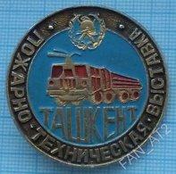 USSR / Badge / Soviet Union / Uzbekistan. Fire-technical Exhibition. Fireman. Fire Car Transport Tashkent 1980s - Firemen