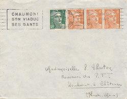 Gandon 4frs N° 808 X 3 + 3frs N° 716A Sur Lettre De 1950 - Marcophilie (Lettres)
