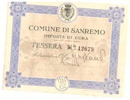 COMMUNE DI SANREMO  IMPOSTA DI CURA-TESSERA N° 12679- ARRIVATO 1.10.36 PARTITO 9.11.36- - Sin Clasificación