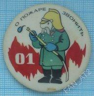USSR / Badge / Soviet Union / Cartoon About Fire Call 01. Fireman 1970s - Firemen