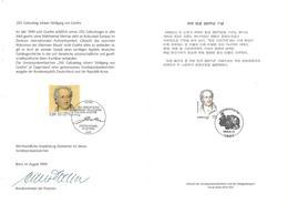 1999 Joint / Gemeinschaftsausgabe Germany South Korea, GERMAN  MIXED FDC MINISTER FOLDER WITH BOTH STAMPS:: Goethe - Gezamelijke Uitgaven