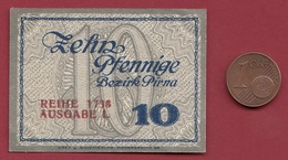 Allemagne 1 Notgeld 10 Pfenning Stadt Pirna (RARE)  Dans L 'état   Lot N °4160 - [ 3] 1918-1933 : Repubblica  Di Weimar
