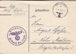 Feldpostkarte - Feldpost No. 17406 Nach Köln-Mülheim - 1941 (42493) - Deutschland
