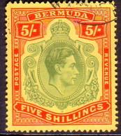 BERMUDA 1942 SG #118b 5sh Perf.14¼ Line Used Dull Yellow-green And Red On Yellow CV £40.00 - Bermuda