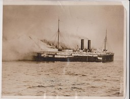 SS CONGRESS ON FIRE GOOS BAY COOS OREGON PACIFIC COAST STEAMSHIP COMPANY BURNING   24*19CM Fonds Victor FORBIN 1864-1947 - Barcos
