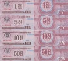 KOREA Set 1 5 10 50 Chon 1988  P 23(2) 24(2) 25(2) 26(2)  UNC - Korea (Nord-)