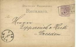 1877  Reichspost Postkarte 5 Pf.  Von Gleiwitz (jetzt Gliwice, Polen) Nach Dresden   Gleiwitz Incident - Stamped Stationery
