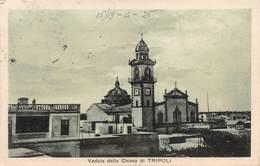 """0644 """"VEDUTA DELLA CHIESA DI TRIPOLI"""" CART. ORIG. SPED. 1926, AFFRANCATURA COLONIALE - Libia"""