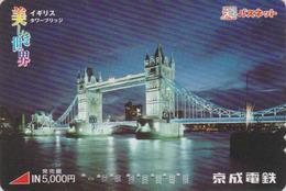 Rare Carte Prépayée Japon - Site ANGLETERRE - PONT -  LONDON TOWER BRIDGE - England RelJapan Prepaid Card - BRÜCKE - 166 - Landschappen