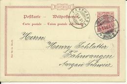 1901   Postkarte 10 Pf Germania Gelaufen Von Frankfurt Nach Fahrwangen, Schweiz - Ganzsachen